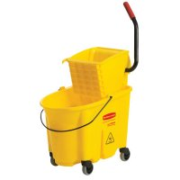 Rubbermaid Commercial WaveBrake™ Bucket/Wringer Combination Packs - WaveBrake Bucket/Wringer Combination Pack, 35 qt, Yellow - Newell Rubbermaid™ - 640-7580-88