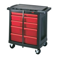 Rubbermaid Commercial Mobile Work Centers - 5-DRAWER MOBILE WORKCENTER 32.6X19.8X33.5 BLA/RED - 640-7734-88 - Newell Rubbermaid™