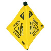 """Rubbermaid Commercial Floor Pop-up Safety Cones - Floor Pop-Up Safety Cones, Caution (Multi-Lingual)/Wet Floor Symbol, Yellow, 20"""" - Newell Rubbermaid™ - 640-9S00"""