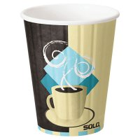 Solo® Duo Shield® Insulated Paper Hot Cups - DuoShield Insulated Paper Hot Cup,12oz, Tuscan Cafe,Beige/Brown/Blue - Solo® - 670-IC12J7534CT