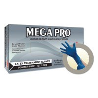 Microflex MegaPro® L85 Latex Exam Gloves - MegaPro L85 Latex Exam Gloves, Large, Natural Rubber Latex, Blue - Ansell - 748-L853