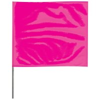 Presco Stake Flags - Stake Flags, 2 in x 3 in, 21 in Height, PVC; Steel Wire, Pink Glo - Presco - 764-2321PG