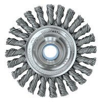 Weiler® Cable Twist Knot Wire Wheels - Cable Twist Knot Wire Wheel, 4 in D x 1/4 in W, .02 in Steel, 1/2-3/8 Arbor Hole - 804-08534 - Weiler®