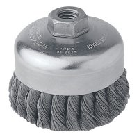 Weiler® Single Row Heavy-Duty Knot Wire Cup Brushes - Single Row Heavy-Duty Knot Wire Cup Brush, 4 in Dia., 5/8-11 UNC, .014 Steel - 804-12306 - Weiler®