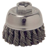 Weiler® Single Row Heavy-Duty Knot Wire Cup Brushes - Single Row Heavy-Duty Knot Wire Cup Brush, 2 3/4 Dia., .014 Steel, Display Pack - 804-13025 - Weiler®