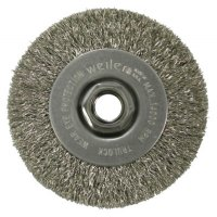 Weiler® Narrow Face Crimped Wire Wheels - Narrow Face Crimped Wire Wheel, 4 in D x 1/2 in W, .014 in Steel, 14,000 rpm - 804-13081 - Weiler®