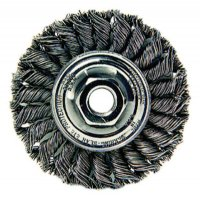 Weiler® Standard Twist Knot Wire Wheels - Standard Twist Knot Wire Wheel, 4 in D x 1/2 in W, .02 in Steel, 5/8-11 UNC Nut - 804-13120 - Weiler®