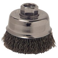 Crimped Wire Cup Brush, 4 in Dia., 5/8-11 Arbor, 0.014 in Carbon Steel - 102-4CC58 - Anchor Products