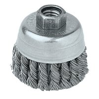 Weiler® Single Row Heavy-Duty Knot Wire Cup Brushes - Single Row Heavy-Duty Knot Wire Cup Brush, 2 3/4 Dia., 5/8-11 UNC, .02 Stainless - 804-13258 - Weiler®