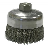 Weiler® Crimped Wire Cup Brushes - Crimped Wire Cup Brush, 4 in Dia., 5/8-11 UNC Arbor, .014 in Steel Wire - 804-14026 - Weiler®