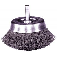 Weiler® Stem-Mounted Crimped Wire Cup Brushes - Stem-Mounted Crimped Wire Cup Brush, 1 3/4 in Dia., .006 in Steel - 804-14300 - Weiler®