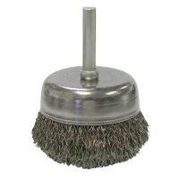 Weiler® Stem-Mounted Crimped Wire Cup Brushes - Stem-Mounted Crimped Wire Cup Brush, 2 in Dia., .0118 in Steel Wire - 804-14306 - Weiler®