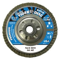 """Weiler® Tiger® Disc Angled Style Flap Discs - Tiger Disc Angled Style Flap Discs, 4 1/2"""", 40 Grit, 5/8 Arbor, Aluminum Back - 804-50518 - Weiler®"""