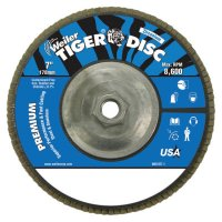 """Weiler® Tiger Disc® Angled Style Flap Discs - Tiger Disc Angled Style Flap Discs, 7"""", 36 Grit, 5/8 Arbor, Aluminum Back - 804-50542 - Weiler®"""