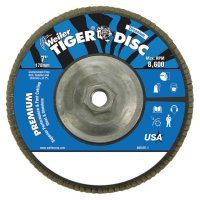 """Weiler® Tiger® Disc Angled Style Flap Discs - Tiger Disc Angled Style Flap Discs, 7"""", 60 Grit, 5/8 Arbor, Aluminum Back - 804-50544 - Weiler®"""