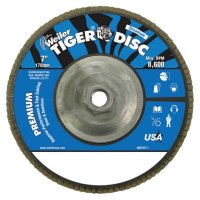"""Weiler® Tiger® Disc Angled Style Flap Discs - Tiger Disc Angled Style Flap Discs, 7"""", 80 Grit, 5/8 Arbor, Aluminum Back - 804-50545 - Weiler®"""