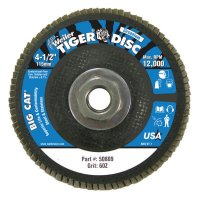 "Weiler® Big Cat® High Density Flat Style Flap Discs - Big Cat High Density Flat Style Flap Discs, 4.5"", 60 Grit, 5/8 Arbor, 12,000 rpm - 804-50809 - Weiler®"
