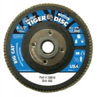 "Weiler® Big Cat® High Density Flat Style Flap Discs - Big Cat High Density Flat Style Flap Discs, 4.5"", 80 Grit, 5/8 Arbor, 12,000 rpm - 804-50810 - Weiler®"