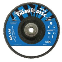"Weiler® Big Cat® High Density Flat Style Flap Discs - Big Cat High Density Flat Style Flap Discs, 7"", 60 Grit, 5/8""-11 Arbor, 8600 rpm - 804-50844 - Weiler®"
