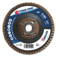 """Weiler® Type 29 Tiger Paw™ Angled Flap Discs - Type 29 Tiger Paw Angled Flap Discs, 4 1/2"""", 40 Grit, 5/8 Arbor, 13,000 rpm - 804-51124 - Weiler®"""