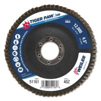 """Weiler® Tiger Paw™ Coated Abrasive Flap Discs - Tiger Paw Coated Abrasive Flap Discs, 4 1/2"""", 40 Grit, 7/8 Arbor, 12,000 rpm - 804-51161 - Weiler®"""