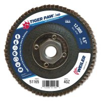 "Weiler® Tiger Paw™ Super High Density Flap Discs - Tiger Paw Super High Density Flap Discs, 4 1/2"", 40 Grit, 5/8 Arbor, 12,000 rpm - 804-51165 - Weiler®"