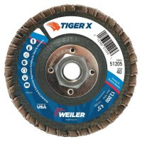 Weiler® TIGER® X Flap Discs - TIGER X Flap Disc, 4 1/2 in Angled, 40 Grit, 5/8 in - 11 Arbor - 804-51205 - Weiler®