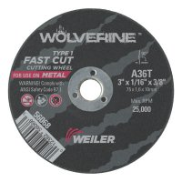 Weiler® Wolverine™ Thin Cutting Wheels - Wolverine Thin Cutting Wheels, 3 in Dia, 1/16 Thick, 3/8 Arbor, 36 Grit - 804-56068 - Weiler®