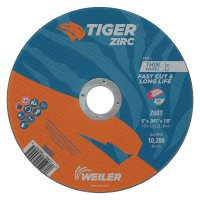 Weiler® Tiger® Zirc Thin Cutting Wheels - Tiger Zirc Thin Cutting Wheels, 6 in Dia, .045 Thick, 7/8 in Arbor, Grit 60 - 804-58002 - Weiler®