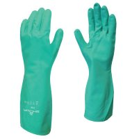 SHOWA® Flock-Lined Nitrile Disposable Gloves - Flock-Lined Nitrile Disposable Gloves, Gauntlet Cuff, Size 7/Small, Green - 845-730-07 - SHOWA®
